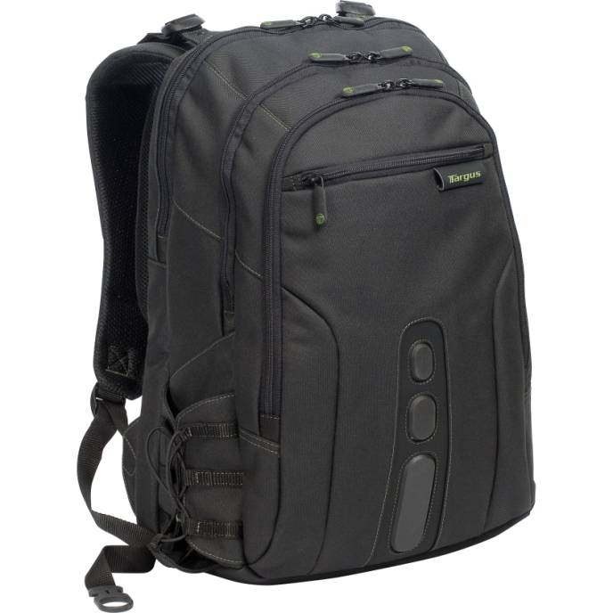 Targus TBB019US Spruce Ecosmart Black Green Polyester Backpack 17in 092636250744 - Image of item from www.ichq.com